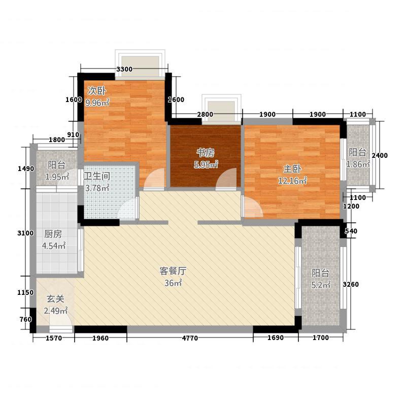 世纪花城3.20㎡户型3室2厅1卫1厨