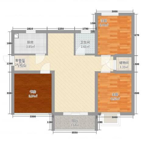 宏帆・观湖3室1厅1卫1厨278.00㎡户型图