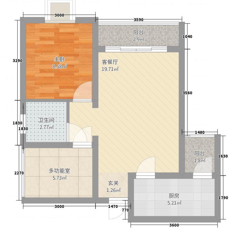 宏帆・观湖163.20㎡A户型1室2厅1卫1厨