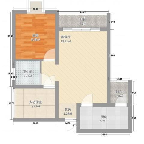 宏帆・观湖1室1厅1卫1厨163.00㎡户型图