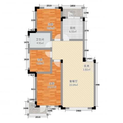 爵士公馆3室1厅1卫1厨80.87㎡户型图