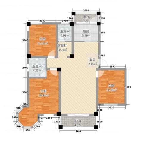 维多利亚花园3室1厅2卫1厨116.00㎡户型图