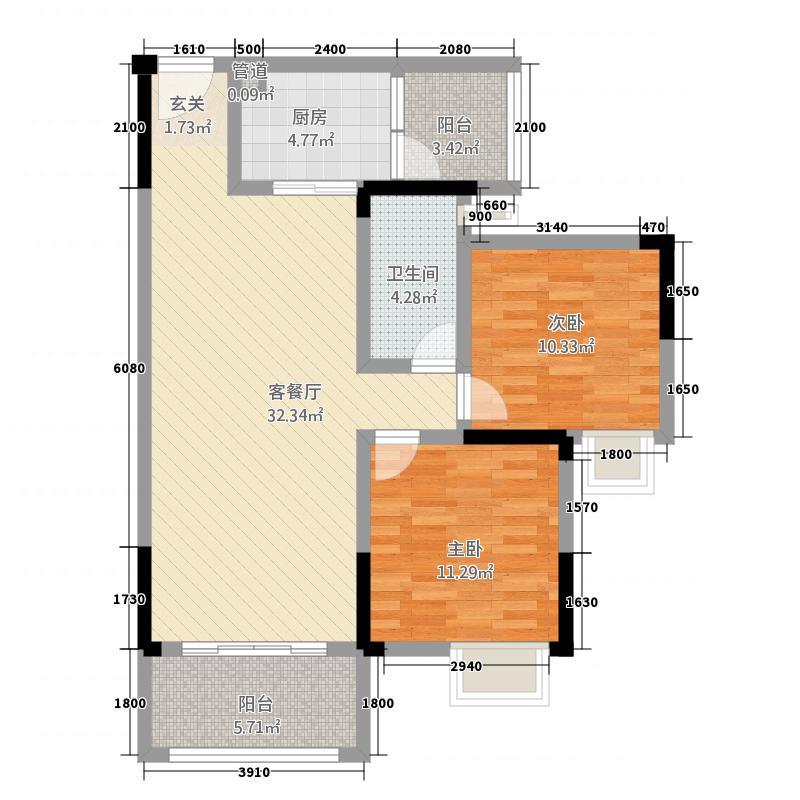 御景豪阁8.32㎡一期标准层1/2号户型2室2厅1卫1厨