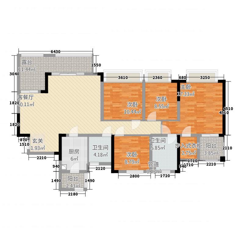 俊豪中央大街288.52㎡一期2号楼标准层C户型3室2厅1卫1厨