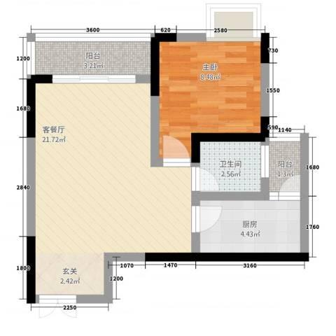 兴盈德润城1室1厅1卫1厨62.00㎡户型图