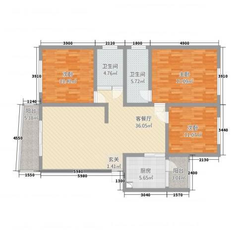 尚城国际3室1厅2卫1厨32127.00㎡户型图