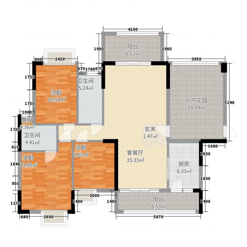 半山豪庭122123.72㎡12栋02户型3室2厅2卫1厨