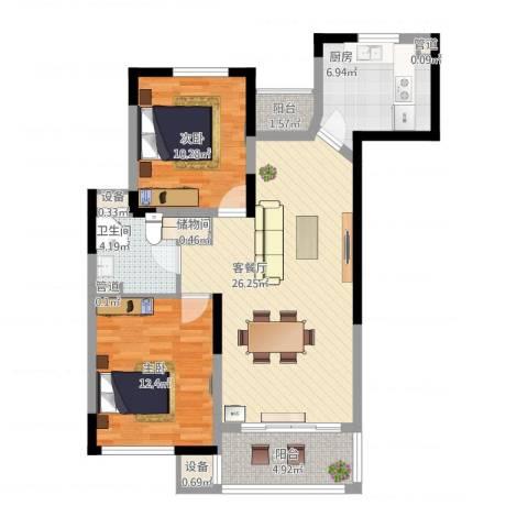 绿地波士顿公馆2室1厅3卫3厨99.00㎡户型图