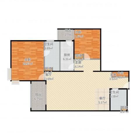 北苑家园莲葩园2室1厅2卫1厨149.00㎡户型图