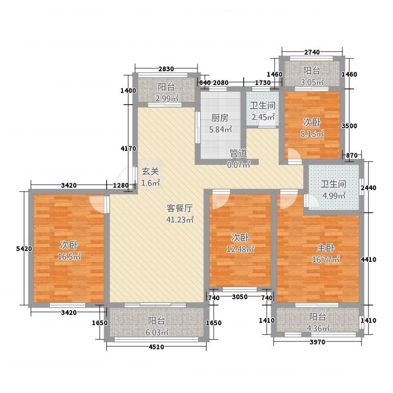建业桂园151182.81㎡洋房1/5/10号楼01户B户型4室2厅2卫1厨