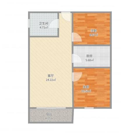 新鹏・四季风景苑2室1厅1卫1厨78.00㎡户型图