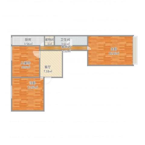 海淀路小区3室1厅1卫1厨78.00㎡户型图