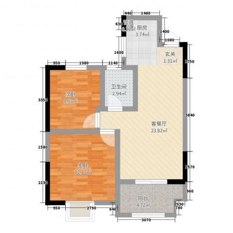 新铭基书香苑2室1厅1卫0厨74.00㎡户型图