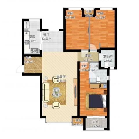 天成佳境3室1厅4卫1厨136.00㎡户型图