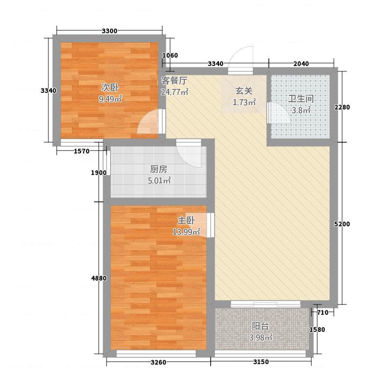 汶水花园1388.20㎡1号楼3户型2室2厅1卫1厨