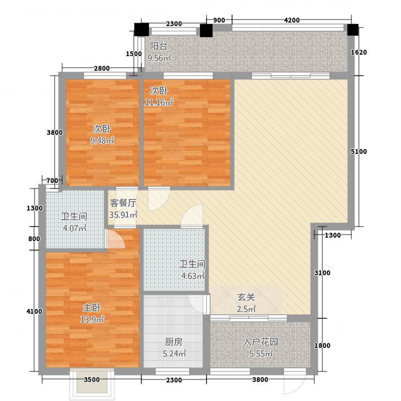 西城铭苑211.82㎡2号楼B户型3室2厅2卫1厨