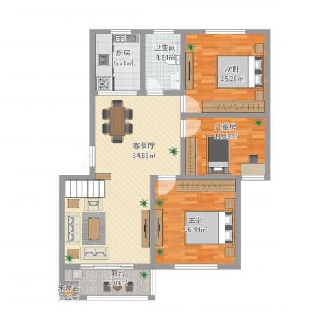 荣鑫花苑3室1厅2卫1厨134.00㎡户型图