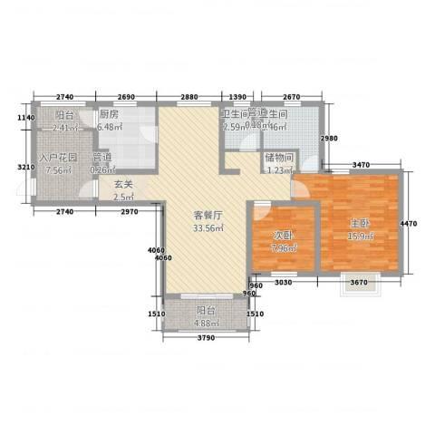 世茂蝶湖湾2室1厅2卫1厨127.00㎡户型图