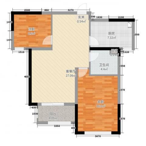 凯旋公馆2室1厅1卫1厨221.00㎡户型图