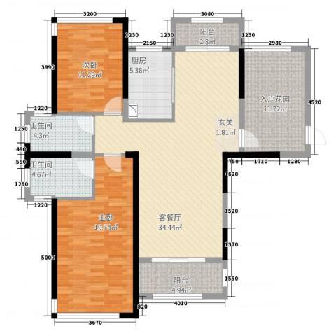 凯旋公馆2室1厅2卫1厨22117.00㎡户型图