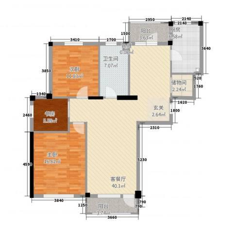 熙园3室1厅1卫1厨136.00㎡户型图