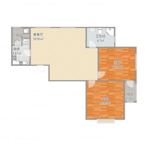 金地格林世界城市公馆2室1厅1卫1厨118.00㎡户型图