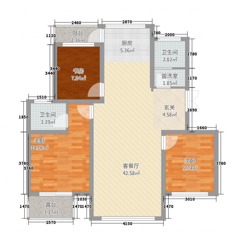 锦和城52125.75㎡5号楼2单元西户3室3室户型3室2厅2卫1厨