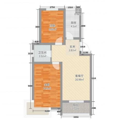 锦汇苑2室1厅1卫1厨82.00㎡户型图