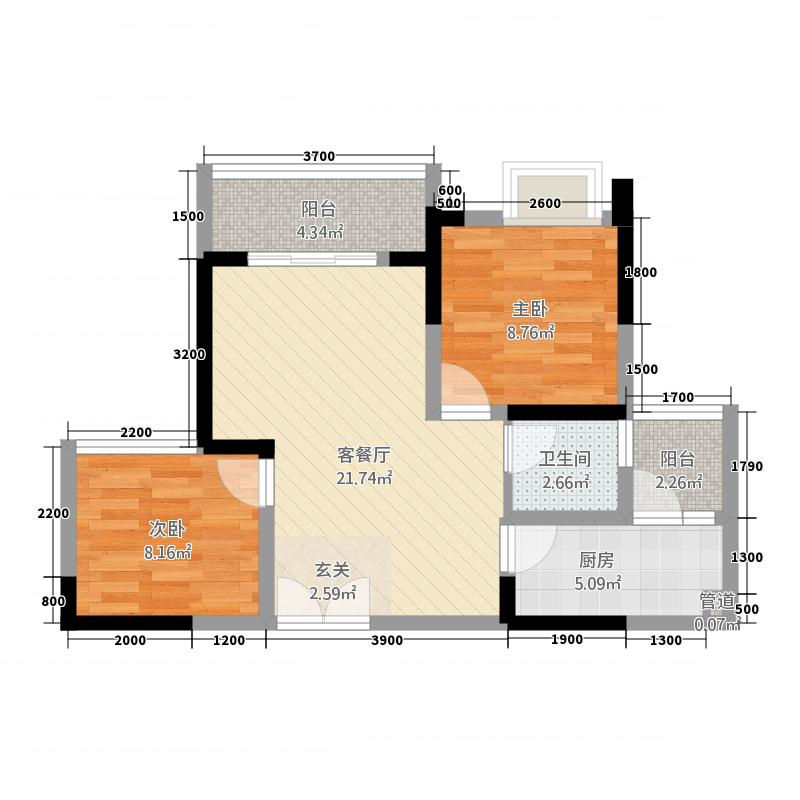 荧鸿城174.42㎡二期1号楼标准层B2户型2室2厅1卫1厨