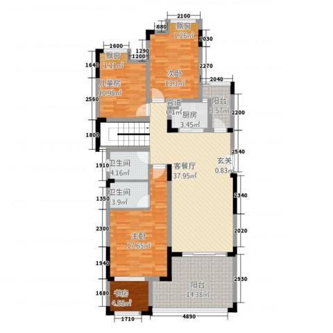 竣尊・御景国际4室1厅2卫1厨114.01㎡户型图