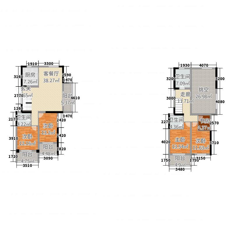君悦玺园3211.20㎡C3-Y空中跃墅户型4室2厅3卫1厨