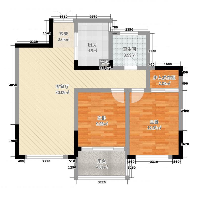 翡翠园22.20㎡户型2室2厅1卫1厨