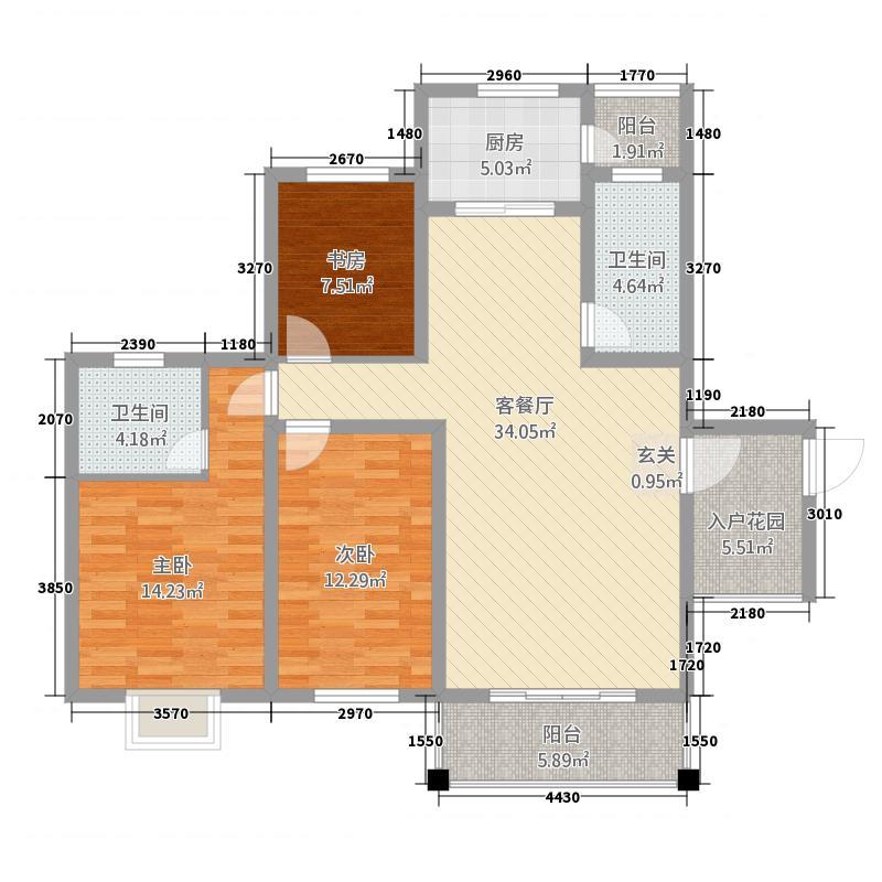川硐教育园区125.52㎡职院B栋标准层户型3室2厅2卫1厨