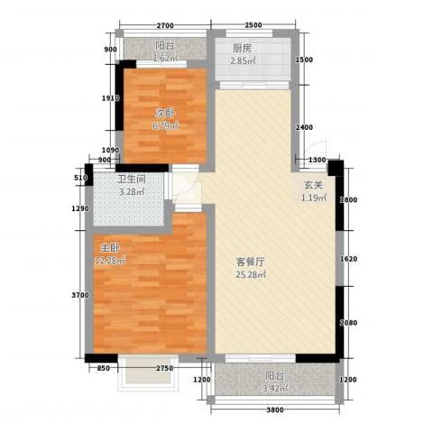 一米阳光・朝阳居2室1厅1卫1厨55.52㎡户型图