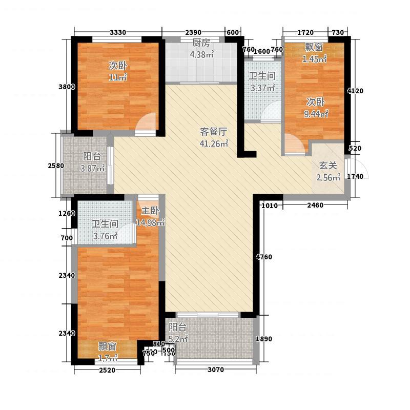 保利建业・香槟国际14.20㎡一期凯歌户型3室2厅2卫1厨