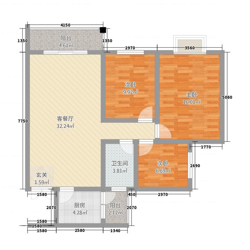 川硐教育园区15.42㎡职院B栋标准层户型3室2厅1卫1厨