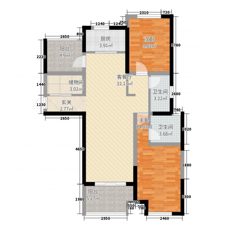 保利建业・香槟国际117.20㎡一期罗兰百悦户型2室2厅2卫1厨