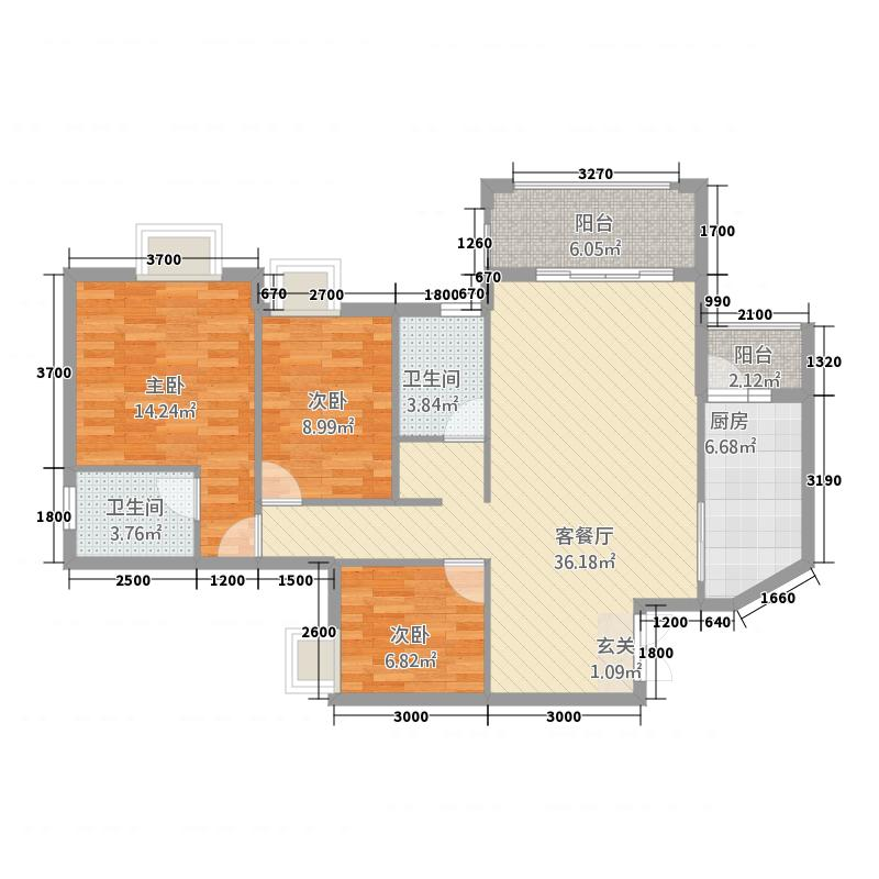 名家汇国际广场4111.63㎡4号楼c-1户型3室2厅2卫1厨