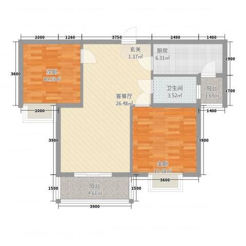 易居尚城2室1厅1卫1厨281.00㎡户型图