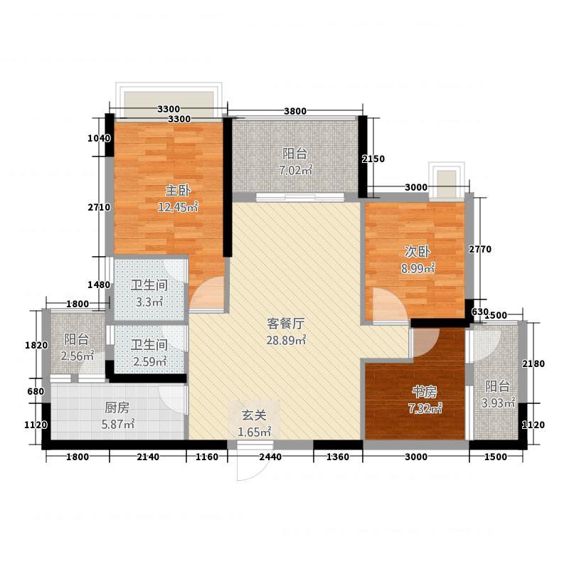现代生态水城澜岸14.20㎡1期1、2、3、6、7栋标准层E户型3室2厅2卫1厨