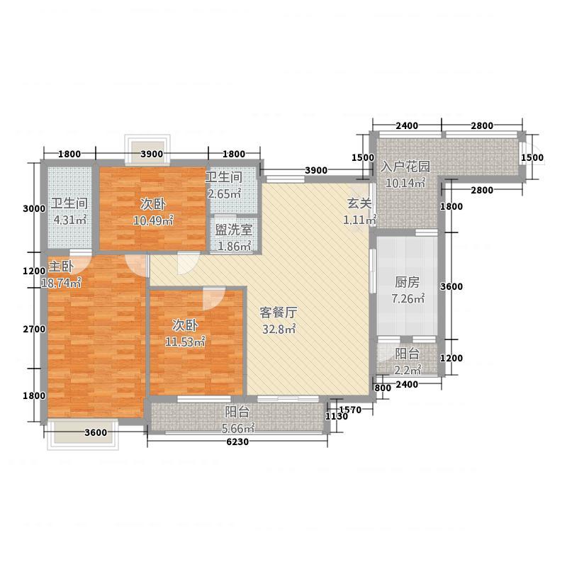 康安尚都二期15115.18㎡二期15号楼跃层B户型3室2厅2卫1厨