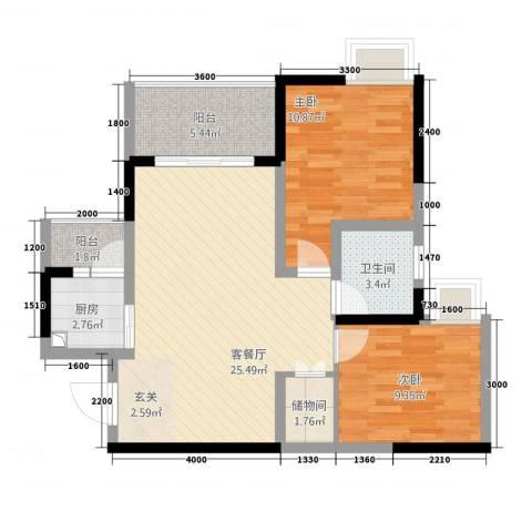 风格嘉居2室1厅1卫1厨60.87㎡户型图