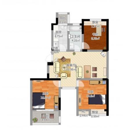 东方威尼斯3室1厅1卫1厨104.00㎡户型图