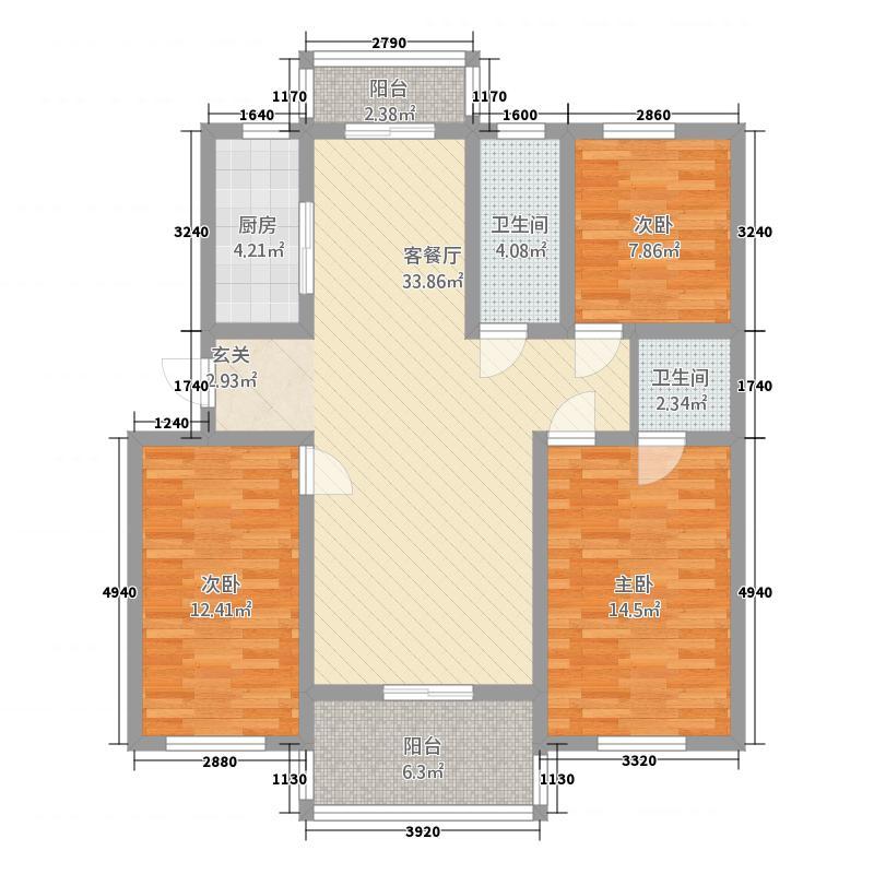 丰乐佳苑127.00㎡5#户型3室2厅2卫1厨