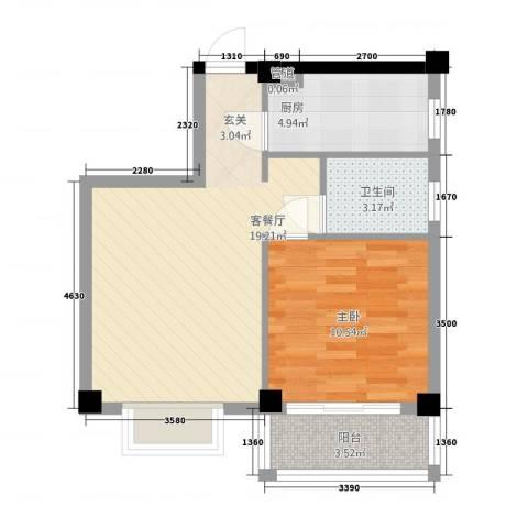 江南明珠苑1室1厅1卫1厨60.00㎡户型图