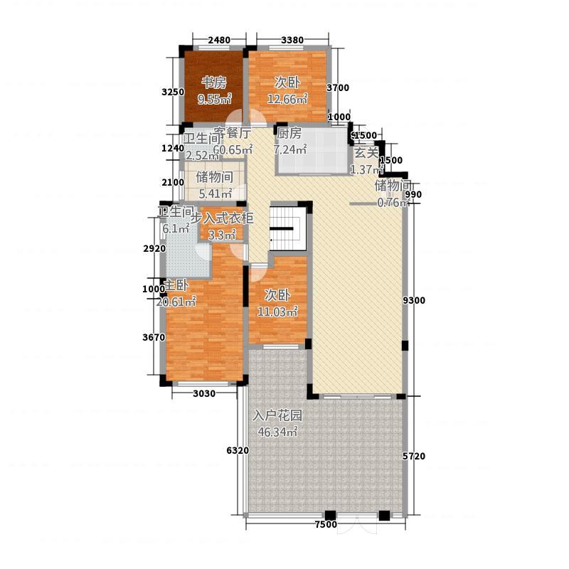 鹏城碧湖云溪1185.38㎡这是A1地上一层户型4室2厅2卫1厨