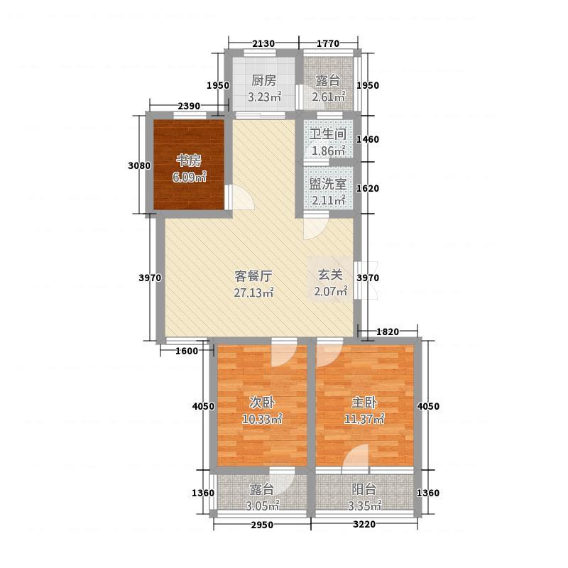 锦和城7114.88㎡7号楼1单元西户3室3室户型3室2厅2卫1厨