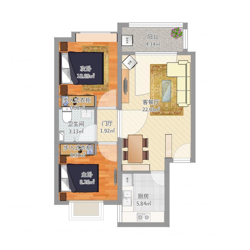 凤凰城-两室两厅一卫-A2无印良品