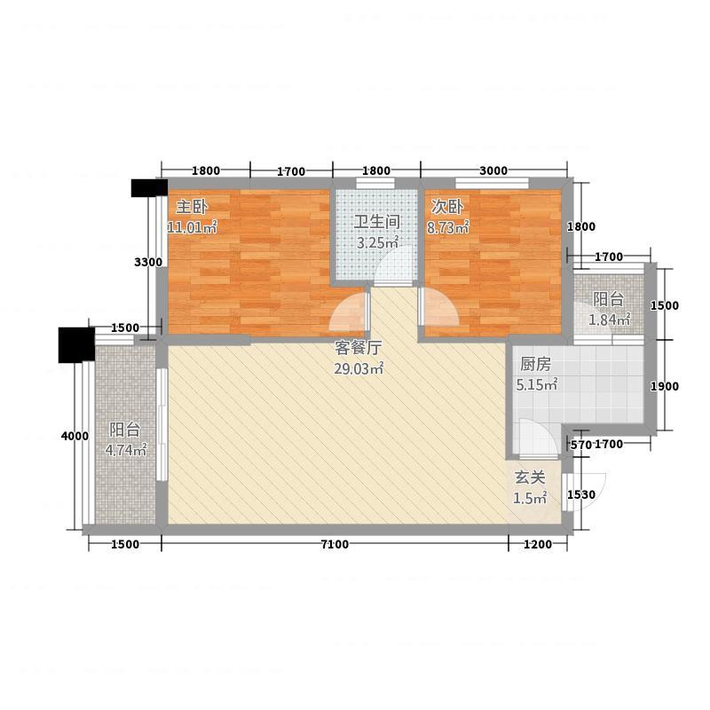 盛世天彭7.35㎡一期一批次8、10、11栋标准层C户型2室2厅1卫1厨