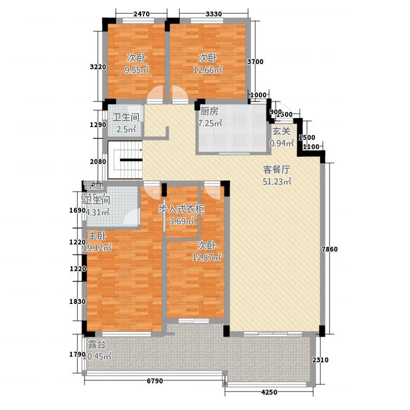 鹏城碧湖云溪215.52㎡这是A2地上一层户型4室2厅2卫1厨